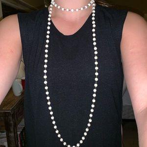 Long Cream/Silver Bead Necklace